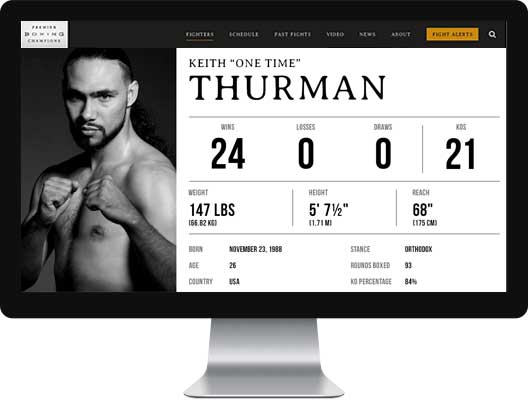 Boxer, Keith Thurman, profile page on computer screen