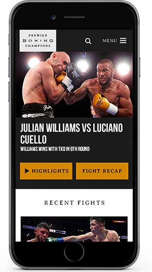 Boxing fight highlights and fight recap on iphone screen