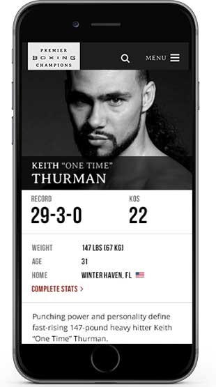 Boxer, Keith Thurman profile on iphone screen