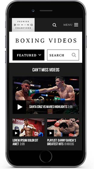 Boxing videos listings on iphone screen