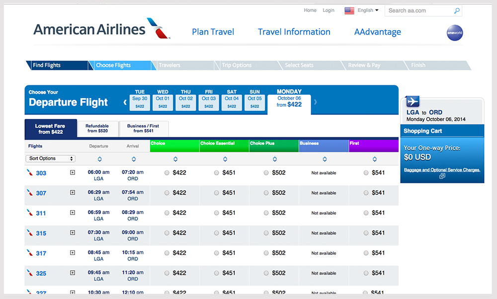 Booking a flight on American Airlines