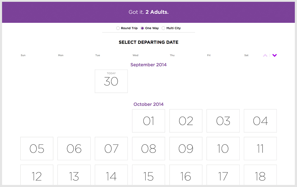 Booking Process Select Departing Date